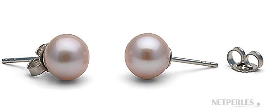 boucles d'oreilles de perles de culture d'eau douce lavande qualité AAA