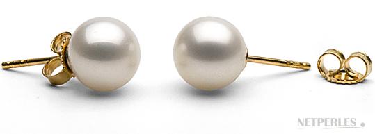 Paire de boucles d'oreilles de perles de culture d'eau douce blanches qualité AAA