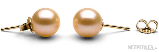 Paire de boucles d'Oreilles de perles de culture d'eau douce peche, qualité AAA