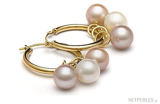 Boucles d'oreilles créoles avec perles d'eau douce 8-9 mm AAA