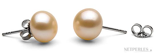 Paire de boucles d'oreilles de perles de culture d'eau douce pêche