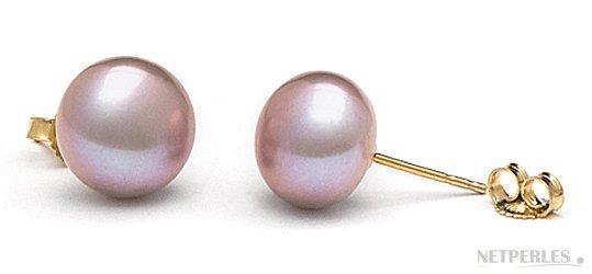 Boucles d'oreilles de perles d'eau douce en forme bouton, couleur Lavande