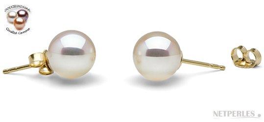 Boucles d'oreilles de perles de culture d'eau douce de qualité exceptionnelle DOUCEHADAMA en or jaune
