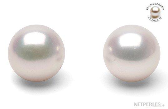 Boucles d'oreilles de perles d'Akoya Hanadama blanches