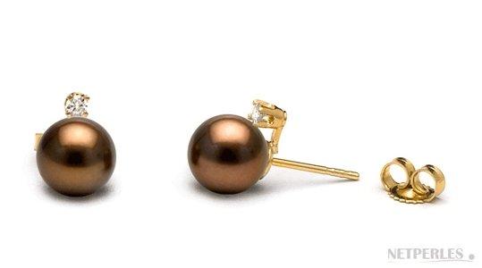 Boucles d'oreilles perle de Tahiti Chocolat et diamants
