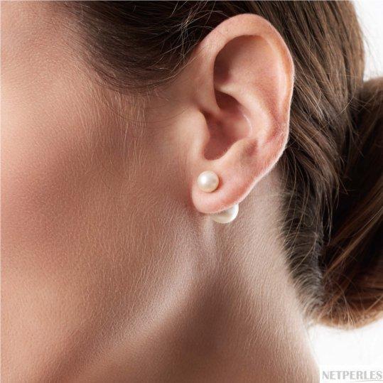 Boucles d'oreilles Recto Verso de perles de culture d'eau douce ronde et ovale