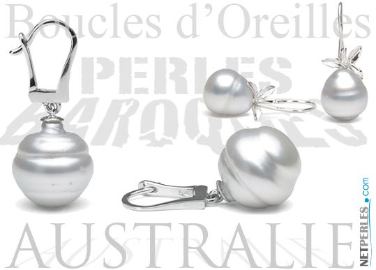 Boucles d'oreilles perles d'Australie Baroques