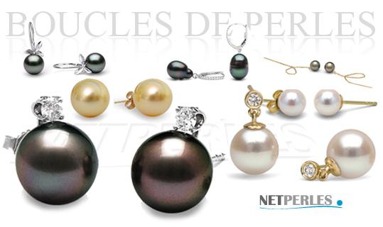 Boucles de perles, boucles d'oreilles, perles de culture, bijoux de perles, perles noires, perles blanches, perles dorées etc...