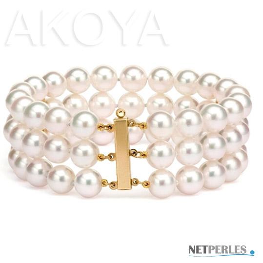 bracelet de perles blanches sur 3 rangs, bijou de luxe