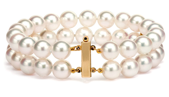 Bracelet perles d'Akoya deux rangs