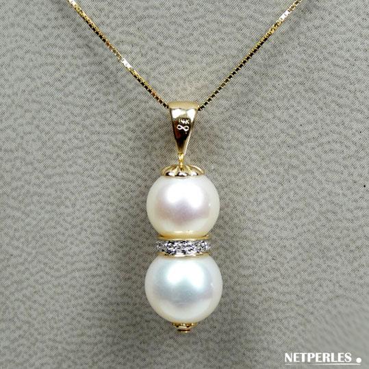 Pendentif perles de culture d'eau douce blanches qualité AAA et bague or et diamants