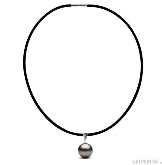 Pendentif / Collier en caoutchouc avec bélière Argentum en Argent 925 , perle de culture de Tahiti