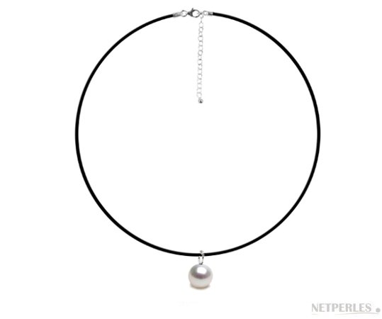 Pendentif / Collier en caoutchouc avec bélière Mignon en Argent 925 , perle de culture d'eau douce