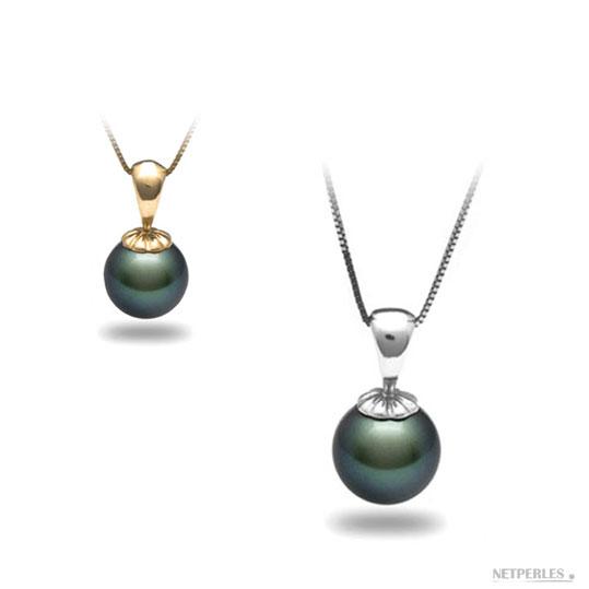 pendentif perle de culture de tahiti sur beliere or jaune ou or gris avec leur chaine en Or