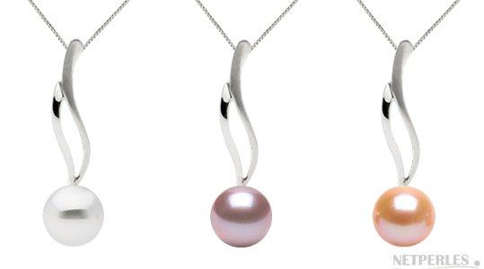 pendentif or 14k avec perles de culture d'eau douce qualité Doucehadama
