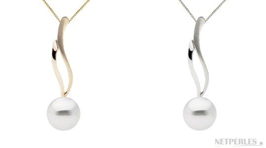 pendentif or 14k avec une perle blanche d'eau douce qualité Doucehadama