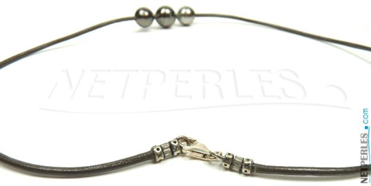 Fermoir en Argent ou Or 14 carats pour lien de cuir pour pendentif de perles