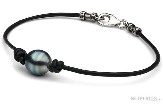 Bracelet en cuir avec perle de Tahiti baroque poire et fermoir en Argent