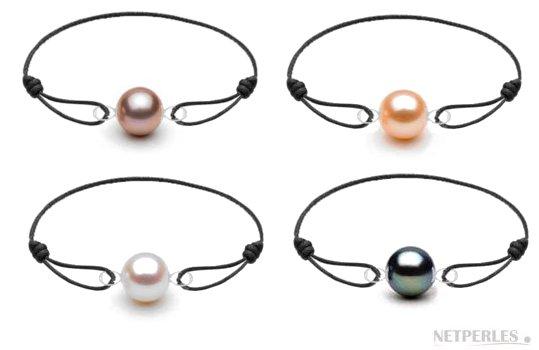 Bracelets Cuir et Or 18k avec perles de culture d'eau douce