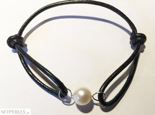 Bracelet Cuir, Or Gris et perle d'eau douce blanche AAA