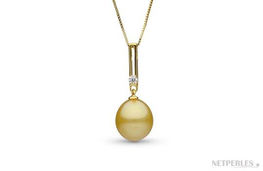 Pendentif DECO avec perle dorée d'Australie Goutte AA+/AAA