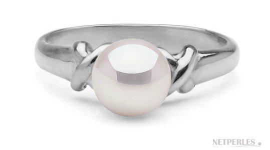 Bague en Argent 925 avec une belle perle de culture d'Akoya blanche