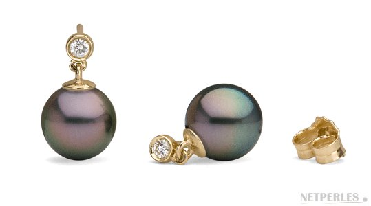 Boucles d'oreilles de Perles de Tahiti avec diamants