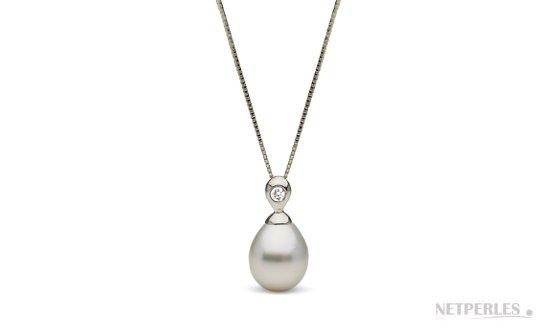 Pendenfit Argent et diamant avec perle de culture d'australie blanche argentée en forme Goutte 10-11 mm