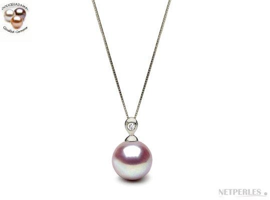 Pendentif Argent Diamant perle de culture d'eau douce lavande