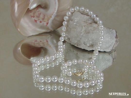 Collier de perles de culture d'eau douce 6 à 7 mm qualité AA+ ou AAA