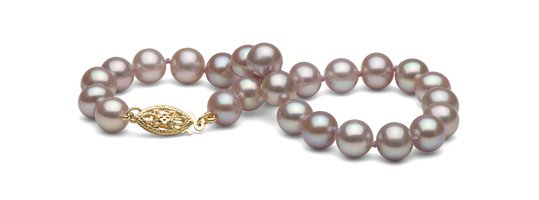 Bracelet de perles de culture d'eau douce, lavande