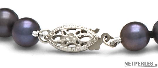 Fermoir de collier de perles de culture d'eau douce noires qualité AAA