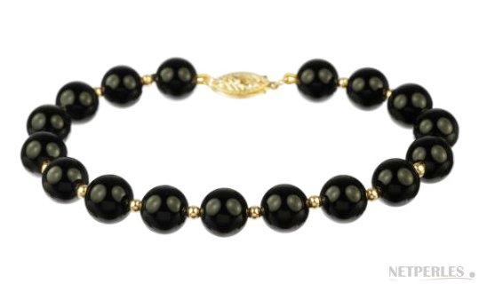 Bracelet de perles d'eau douce noires avec billes en or
