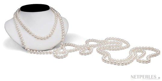 Très long sautoir de perles de culture d'eau douce, de 2 metres et demi!
