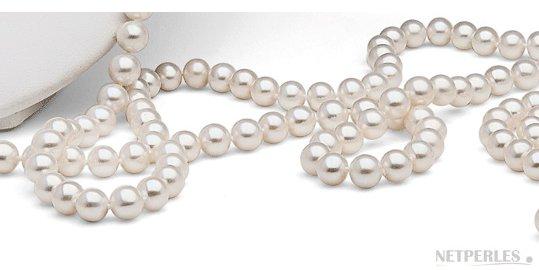 Perles de culture d'eau douce blanches qualité AAA