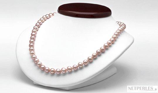 Collier 45 cm de perles d'eau douce couleur lavande naturelle