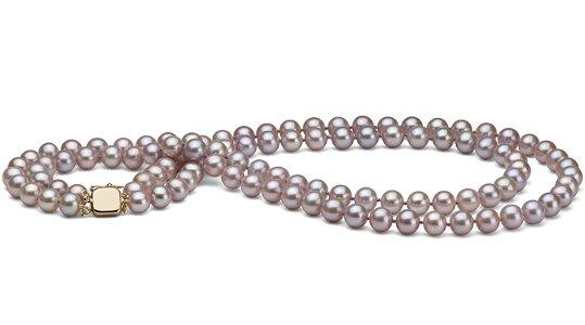 Collier double rang de perles de culture d'eau douce Lavande