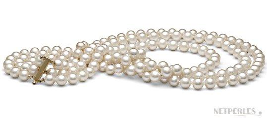 Collier triple rang de perles de cuture d'eau douce blanches