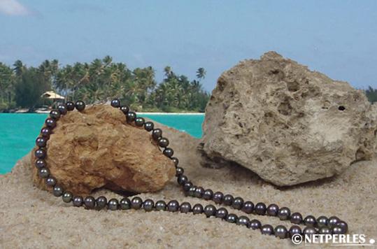 Collier de perles de culture d'Eau Douce noires