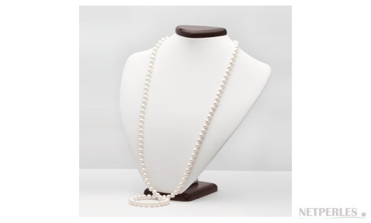 Long collier de perles d'eau douce blanches, 7-8 mm , 90 cm