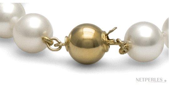 Fermoir Or 14 carats pour collier de perles 8 mm