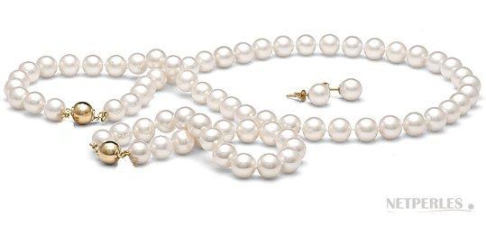 Parure 3 bijoux de perles de culture d'eau douce