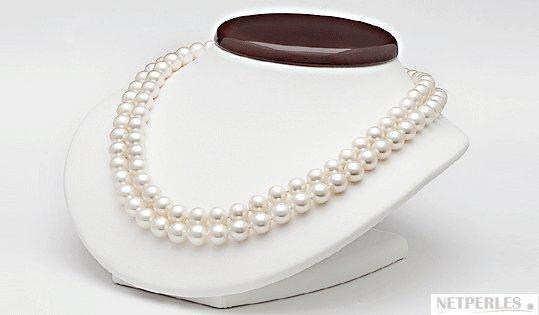 Perles d'eau douce blanches 8-9 mm sur double rang 43 et 45 cm