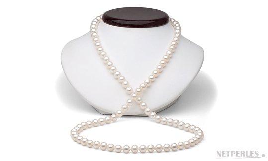 Sautoir de perles d'eau douce blanches 130 cm