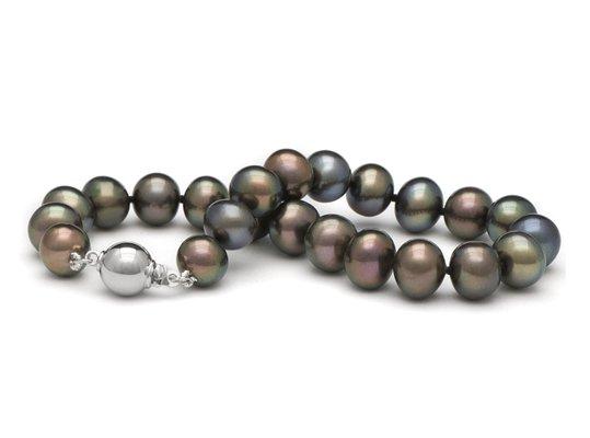 Bracelet de perles de culture d'eau douce noires