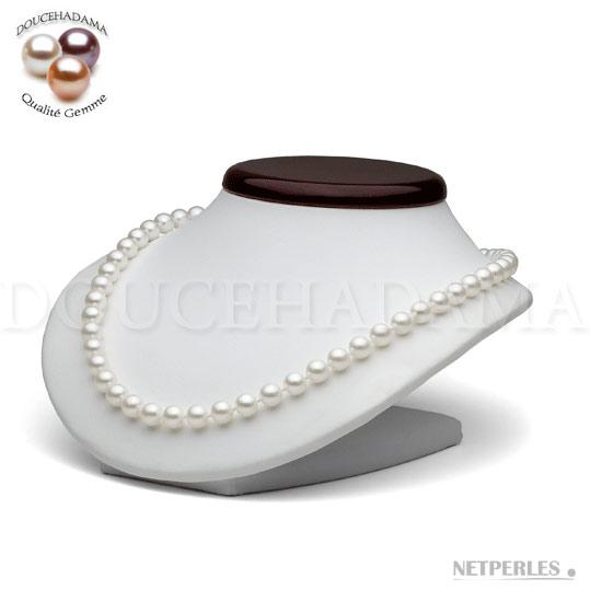 """Collier de perles de culture d'eau douce très haut de gamme """"doucehadama"""" blanches, de 7,5 à 8,0 mm"""