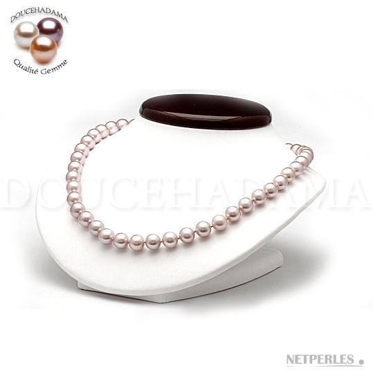 Collier de perles de culture d'eau douce qualité AAA DOUCEHADAMA couleur naturelle Lavande