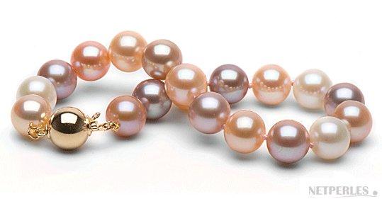 Bracelet de perles de culture d'eau douce qualité Doucehadama multicolor