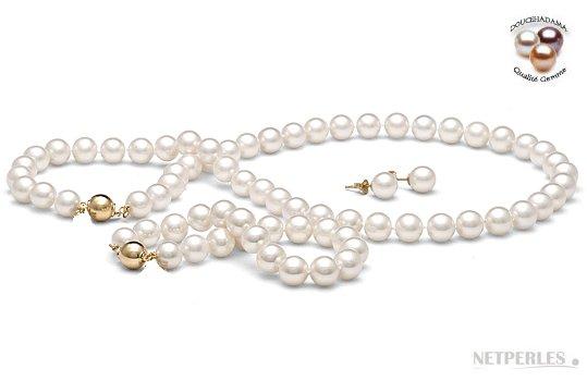 Parure de trois bijoux de perles d'eau douce Doucehadama 9-9,5 mm