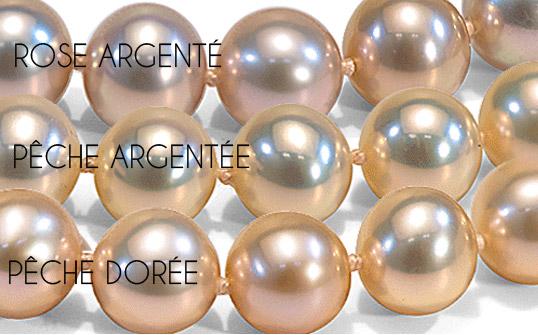 perles d'eau douce aux trois couleurs avec des reflets exceptionnels métallique